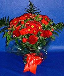 Van hediye çiçek yolla  3 adet kirmizi gül ve kir çiçekleri buketi