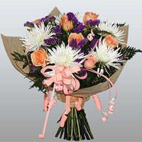 güller ve kir çiçekleri demeti   Van çiçekçiler