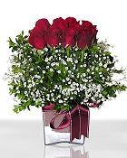 Van çiçek , çiçekçi , çiçekçilik  11 adet gül mika yada cam - anneler günü seçimi -