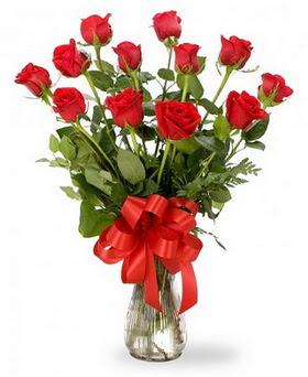 Van çiçek , çiçekçi , çiçekçilik  12 adet kırmızı güllerden vazo tanzimi