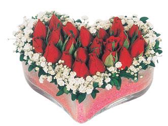 Van çiçekçi telefonları  mika kalpte kirmizi güller 9