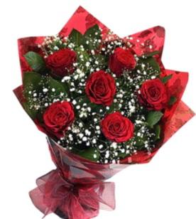 6 adet kırmızı gülden buket  Van yurtiçi ve yurtdışı çiçek siparişi
