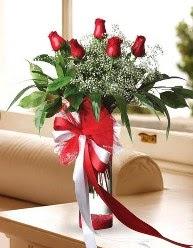 Camda 5 kırmızı gül tanzimi  Van çiçekçi telefonları