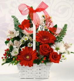 Karışık rengarenk mevsim çiçek sepeti  Van internetten çiçek siparişi