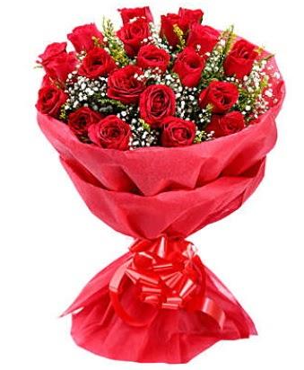 21 adet kırmızı gülden modern buket  Van çiçek gönderme