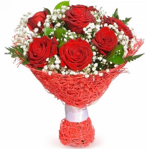 7 adet kırmızı gül buketi  Van çiçekçiler