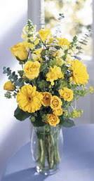 Van online çiçek gönderme sipariş  sari güller ve gerbera cam yada mika vazo