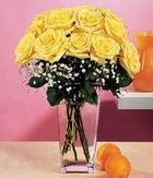 Van internetten çiçek satışı  9 adet sari güllerden cam yada mika vazo