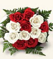 Van çiçek , çiçekçi , çiçekçilik  10 adet kirmizi beyaz güller - anneler günü için ideal seçimdir -