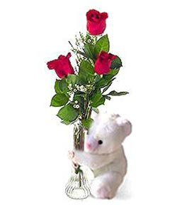 oyuncak ve 3 adet gül  Van çiçek siparişi sitesi