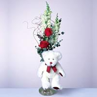 2 adet gül ve panda özel  Van çiçekçi mağazası