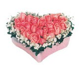 kalp içerisinde 9 adet pembe gül  Van çiçek satışı