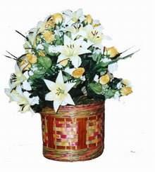 yapay karisik çiçek sepeti   Van cicekciler , cicek siparisi