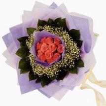 12 adet gül ve elyaflardan   Van çiçekçi mağazası