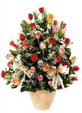 91 adet renkli gül aranjman   Van çiçek gönderme sitemiz güvenlidir
