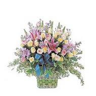 sepette kazablanka ve güller   Van çiçek gönderme