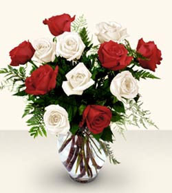 Van uluslararası çiçek gönderme  6 adet kirmizi 6 adet beyaz gül cam içerisinde