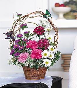 Van cicekciler , cicek siparisi  sepet içerisinde karanfil gerbera ve kir çiçekleri