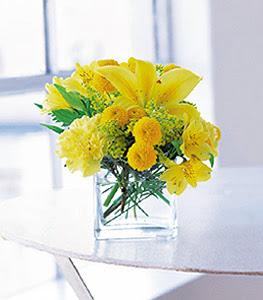 Van ucuz çiçek gönder  sarinin sihri cam içinde görsel sade çiçekler