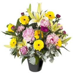 karisik mevsim çiçeklerinden vazo tanzimi  Van uluslararası çiçek gönderme
