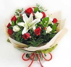 güller ve kazablanklardan görsel bir buket  Van internetten çiçek satışı