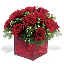 Van çiçek yolla  9 adet kirmizi gül cam yada mika vazoda