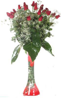 Van uluslararası çiçek gönderme  19 ADET GÜL VE FIL CAM AYAGI
