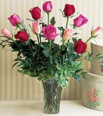 Van çiçek mağazası , çiçekçi adresleri  12 adet karisik renkte gül cam yada mika vazoda