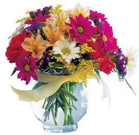 Van internetten çiçek satışı  cam yada mika içerisinde karisik mevsim çiçekleri