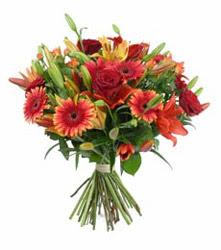 Van çiçek gönderme  3 adet kirmizi gül ve karisik kir çiçekleri demeti