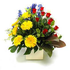 Van online çiçek gönderme sipariş  9 adet gül ve kir çiçekleri cam yada mika vazoda