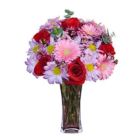 Görsel hediye karisik cam mevsim demeti  Van çiçekçi mağazası