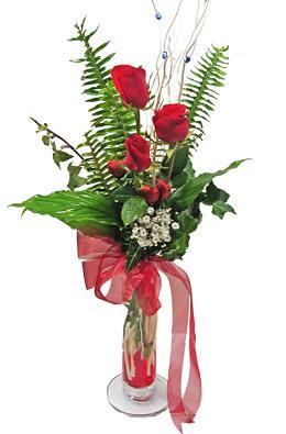 Çiçek gönderin cam vazoda 3 gül çiçekleri  Van çiçek siparişi sitesi