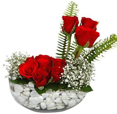 cam içerisinde 9 adet kirmizi gül  Van çiçek siparişi vermek