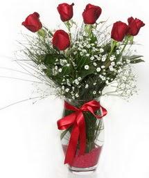 7 adet gülden cam içerisinde güller  Van 14 şubat sevgililer günü çiçek