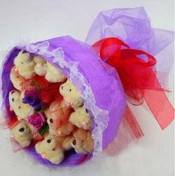 11 adet ayiciktan buket  Van internetten çiçek siparişi