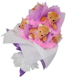 9 adet ayiciktan buket  Van hediye sevgilime hediye çiçek