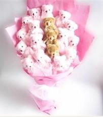 17 adet pelus ayicik buketi  Van İnternetten çiçek siparişi