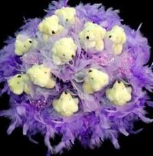 11 adet pelus ayicik buketi  Van çiçek , çiçekçi , çiçekçilik