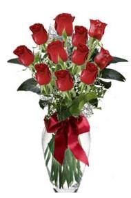 11 adet kirmizi gül vazo mika vazo içinde  Van 14 şubat sevgililer günü çiçek