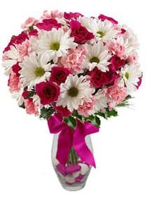 Van çiçek siparişi sitesi  Karisik mevsim kir çiçegi vazosu