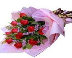 11 adet kirmizi güllerden görsel buket  Van çiçek gönderme sitemiz güvenlidir