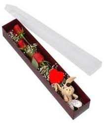 kutu içerisinde 3 adet gül ve oyuncak  Van cicekciler , cicek siparisi