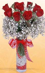 9 adet kirmizi gül cam yada mika vazoda  Van çiçek mağazası , çiçekçi adresleri