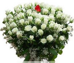 Van internetten çiçek satışı  100 adet beyaz 1 adet kirmizi gül buketi