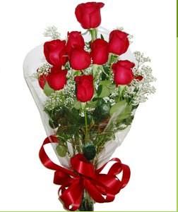 Van uluslararası çiçek gönderme  10 adet kırmızı gülden görsel buket