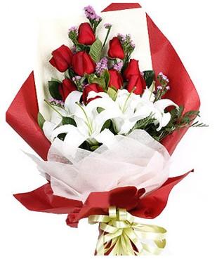 Van çiçekçiler  1 dal kazablankaa 9 adet kırmızı gül buketi