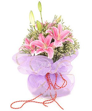 3 dal kazablanka görsel buketi  Van internetten çiçek satışı