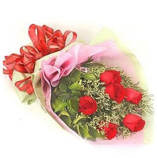 Van çiçek , çiçekçi , çiçekçilik  6 adet kırmızı gülden buket