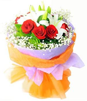 Van çiçek gönderme sitemiz güvenlidir  1 dal kazablanka 7 adet kırmızı gül buketi